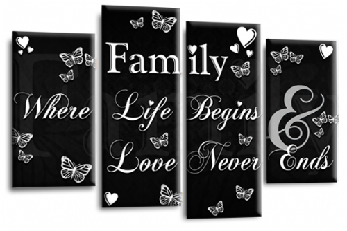 Family Quote Canvas Wall Art Picture Print Black and White